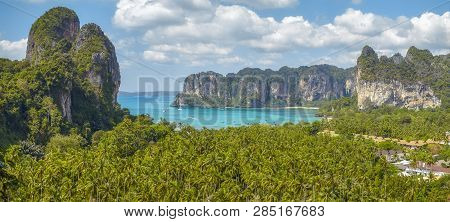 Panoramic View Of Railay Beach From Hill Viewpoint, Krabi Province, Thailand.