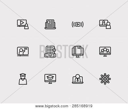 Online Education Icons Set. Education E-learning And Online Education Icons With Webinar Online, Vid