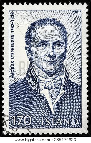Luga, Russia - February 13, 2019: A Stamp Printed By Iceland Shows Image Portrait Of Famous   Icelan
