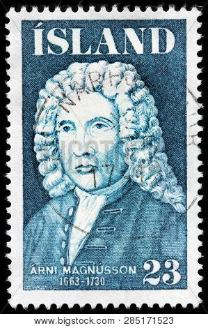 Luga, Russia - February 13, 2019: A Stamp Printed By Iceland Shows Image Portrait Of Famous    Icela