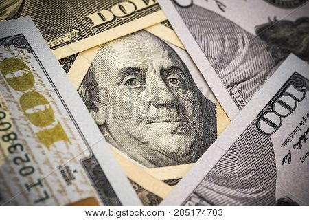 Close-up Benjamin Franklin , Former President Of United States Of America On Usa Dollars Banknotes.-