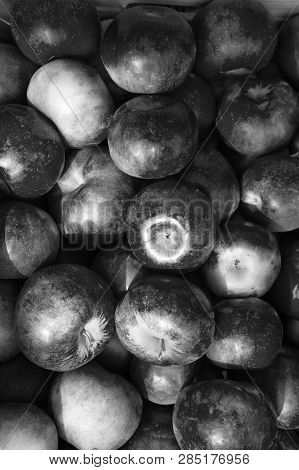 Apples Red Ripe Fruits Background Texture. Apple Harvest Concept. Ripe Organic Fruits Backdrop. Heal
