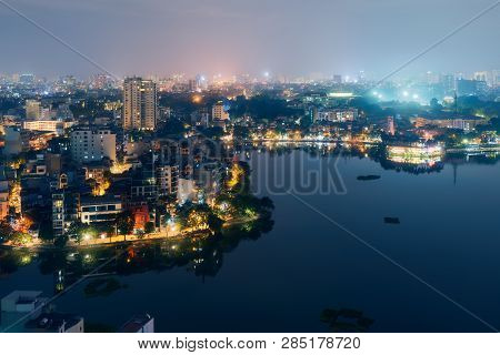 Hanoi Vietnam Aerial Cityscape View At Night. City Urban Skyline Of Old Town District