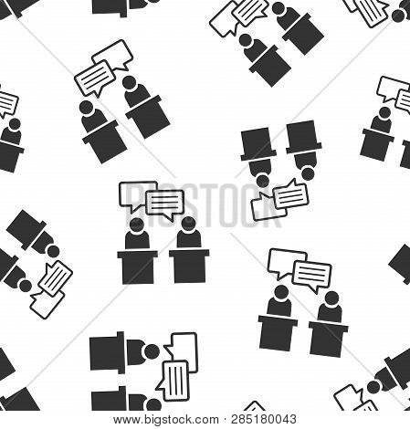 Politic Debate Icon Seamless Pattern Background. Presidential Debates Vector Illustration. Businessm