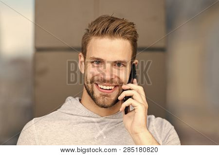 I Was Waiting For Your Call. Man Beard With Smartphone, Urban Background. Communication Concept. Man