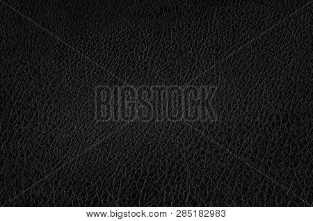 Deep Dark Black Color Luxury Genuine Cow Leather Texture Background. Close Up Photography Of Sofa, C