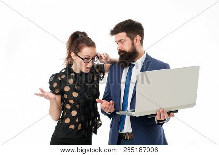 Supervisor Concept. Couple Working Using Laptop. Business Lady Check What Is Done. Outrageous Result