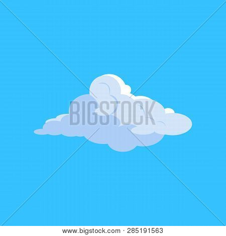 White Cloud In Sky. Softness, Idyllic, Fluffy. Can Be Used For Topics Like Meteorology, Freedom, Wea
