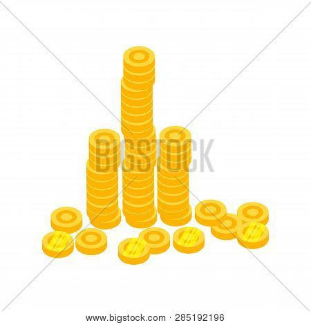 Coin Stacks Vector. Saving, Investment, Debt. Money Concept. Vector Illustration Can Be Used For Top