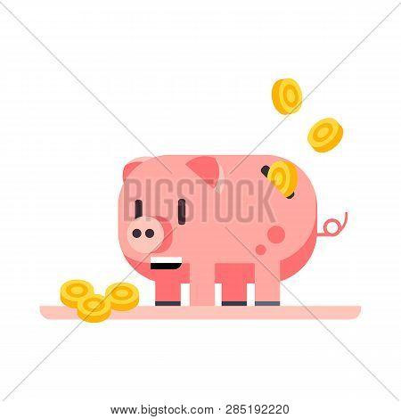 Coins Falling Into Piggy Bank Vector. Income, Saving, Coin Bank. Money Concept. Vector Illustration