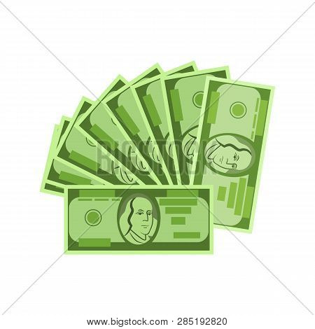 Fan Of Cash Vector. Banknotes, Earning, Profit. Money Concept. Vector Illustration Can Be Used For T