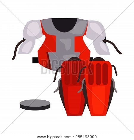 Goaltender Chest Protector And Knee Pads Vector. Hockey Player, Sportswear, Hockey Kit. Ice Hockey C
