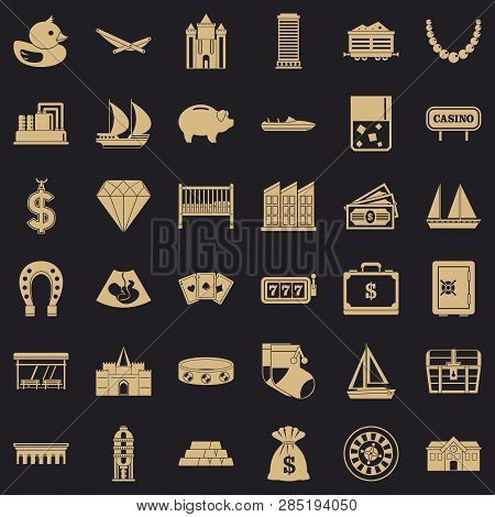 Riches Icons Set. Simple Style Of 36 Riches Vector Icons For Web For Any Design