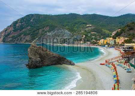 Beautiful Small Town Of Monterosso In The Cinque Terre National Park. Italian Colorful Landscapes. B