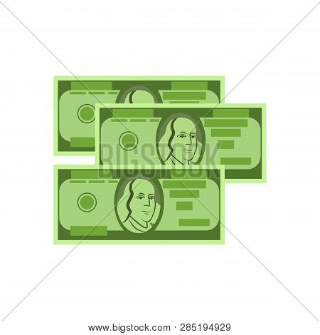 Three Dollar Banknotes Vector. Currency Exchange, Payment, Salary. Money Concept. Vector Illustratio