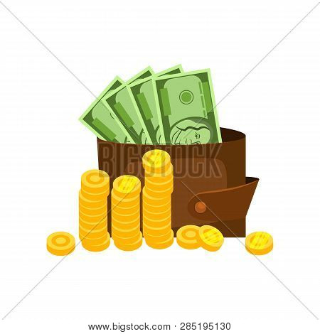 Wallet With Banknotes And Coin Stacks Vector. Investment, Earning, Budget. Money Concept. Vector Ill