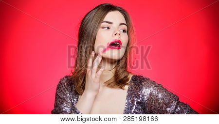 Sensual girl with red lips and big breasts. Love and romance. Sexy lips of woman. Temptation in erotic game. Sexy woman in glamour dress. Beauty and fashion. Sexy reality. Makeup gives me extra pop poster