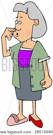 Illustration Of A Confused Gray Haired Woman Wearing Mismatched Clothes And Shoes.