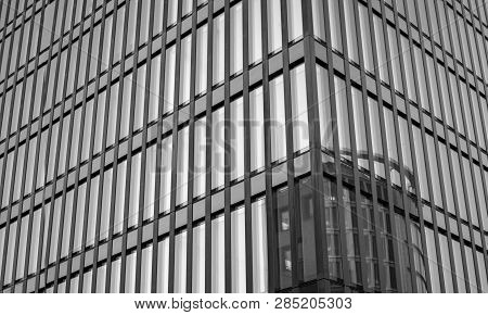 Modern Building. Windows Office Building For Background. Windows Of Modern Office Building. Modern A