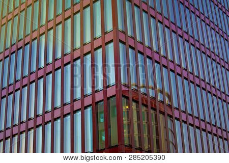 Modern Glass Office Building. Modern Urban Architecture. Abstract Image Of Glass And Concrete Buildi