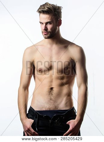 Attractive sexy body. Confident in his attractiveness. Man handsome sexy undressing. Hipster sexy muscular torso take off clothes. Sexual performance. Feeling so hot. Seductive macho feeling sexy poster