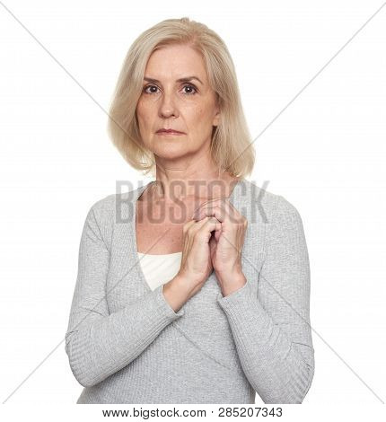 Sad Mature Woman Portrait Isolated