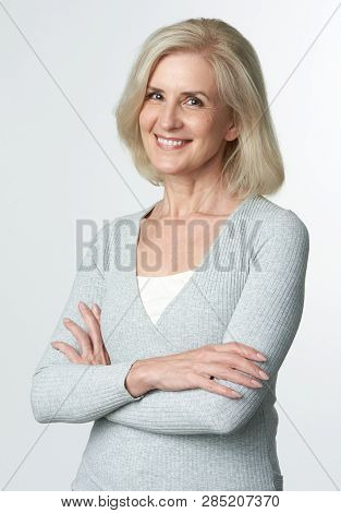 Cheerful Mature Blonde Woman