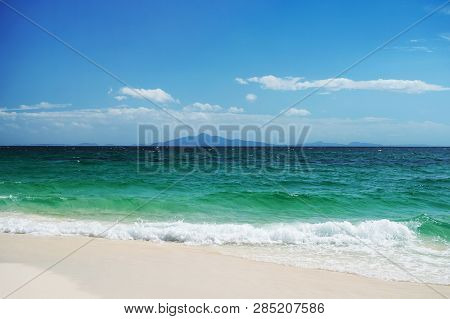 Green Sea And Blue Sky. Beautiful Seascape.