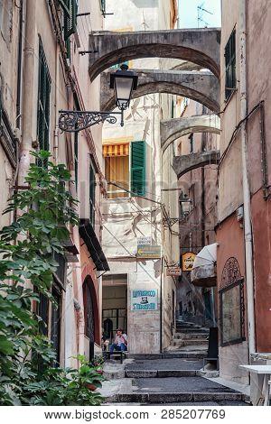 San Remo, Italy, September 18, 2018:  Impression Of The Narrow Street Via Saccheri In The Center Of