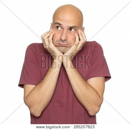 Thoughtful Middle Aged Bald Man Thinking