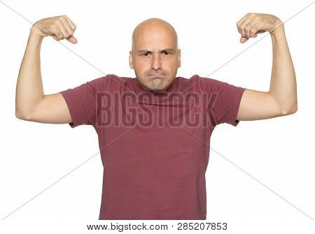 Funny Bald Man Shows His Muscle