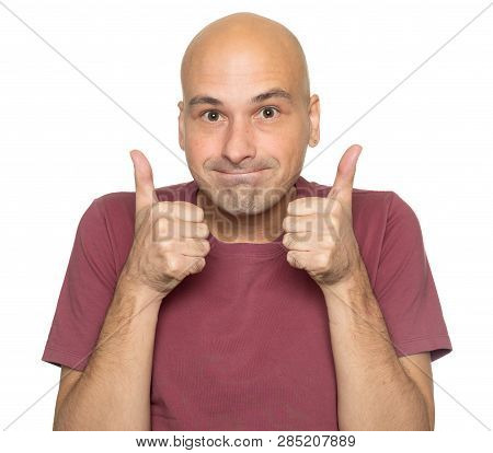 Man Showing Thumbs Up Isolated On White