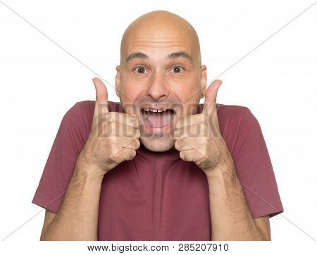 Excited Bald Man Showing Thumbs Up. Isolated