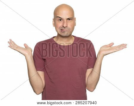 Bald Man Shrugging