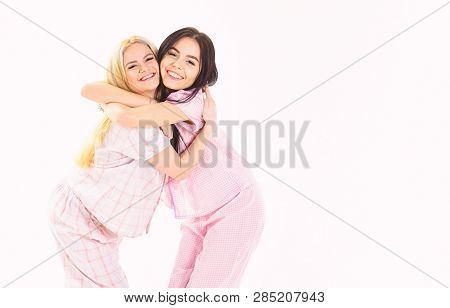 Girls Hugging Tight, Isolated On White Background. Sisters Best Friends Concept. Blonde And Brunette