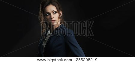 Fashionable Woman With Long Wavy Hair