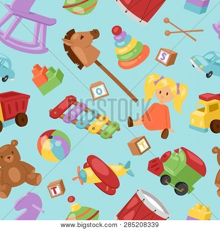 Set Of Different Cartoon Vector Kids Toys Collection Background Playfull Children Stuff. Different C