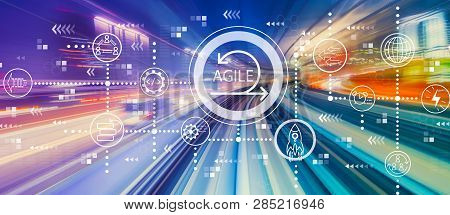 Agile Concept With Abstract High Speed Technology Pov Motion Blur