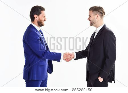 Handshake Sign Of Successful Deal. Business Meeting. Business Deal Leaders Company. Capital Merger.