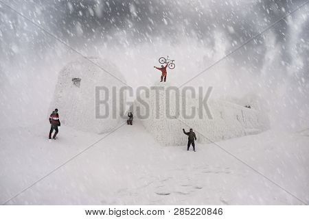 Ukraine, Verkhovyna, February 4, 2018: Tourists Climbed The Alpine Path To Mount Pip Ivan To The Old