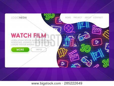 Online Cinema Landing Page. Mock Up Website. Movie Web Page. Web Banner Template. Vector Illustratio
