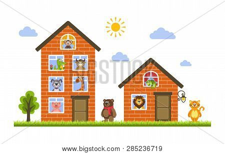 Two Houses In Which Live Animals: Monkey, Crocodile, Cow, Dog, Giraffe, Bear, Cat, Lion, Iguana And