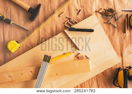Pencil On Woodwork Carpentry Workshop Table With Other Tools Of Trade For Diy Hobby Project