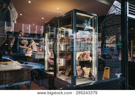 London, Uk - February 16, 2019: Meat On Retail Display Of Primrose Hill Butchery In Primrose Hill, A