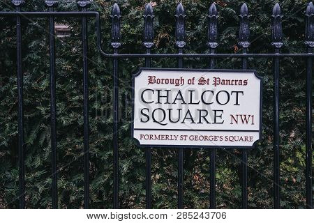 London, Uk - February 16, 2019: Street Name Sign On Chalcot Square, Primrose Hill, An Upscale Area O