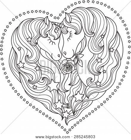 A Pair Of Beautiful Unicorns With A Long Mane With Stars. Black And White. In The Shape Of A Heart.