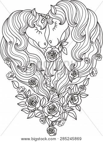 A Pair Of Beautiful Unicorns With A Long Mane In Roses. Black And White. For Coloring. For The Desig