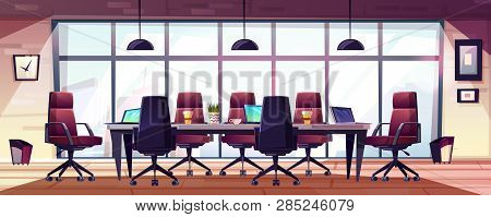 Business Meeting Room, Company Boardroom Interiour Cartoon With Comfortable Armchairs, Laptops And C