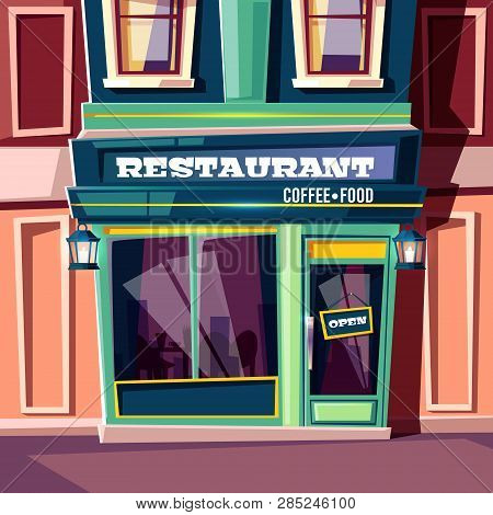 City Street Restaurant With Open Plate On Entrance Door And Vintage Lanterns On Facade Cartoon Illus