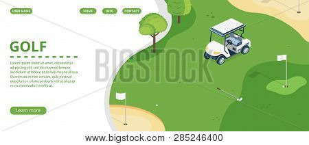 Golf Course, Country Sports Club Or Resort Flat Web Banner, Landing Page With Golf Cart On Green Pla